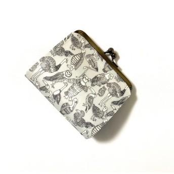 *ラミネート* 丸玉ツマミ がま口ミニ財布 ビーク・トゥ・ビーク ライトグレー リバティプリント使用