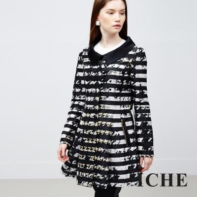 ICHE 衣哲 條紋提花洋裝外套