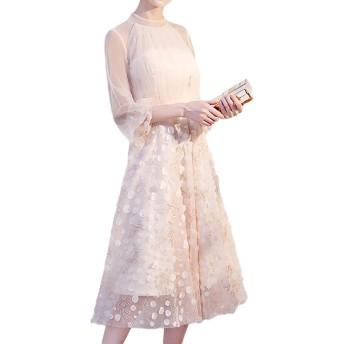 Heaven Days(ヘブンデイズ) パーティードレス ワンピース ドレス フォーマル パーティー 結婚式 二次会 お呼ばれ ミモレ丈 七分袖 シースルー フレア スパンコール レディース 2003E0104