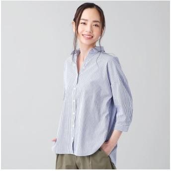 (+nokto/ノクト)シャツ カジュアル 七分袖 スキッパー衿 綿100% レディース ウィメンズ/レディース ブルー