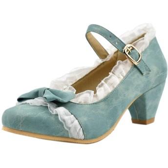 [BeiaMina] レディース ロリータ靴 アンクルストラップ パンプス スエード 革靴 太ヒール 39AS Blue