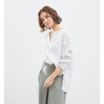 【アバハウス マヴィ/abahouse mavie】 ノーカラーストライプシャツ