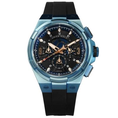 ARIES GOLD 雅力士 競速潮流 藍寶石水晶玻璃 三眼計時 矽膠手錶 黑x藍 45mm G7016BU-BURG