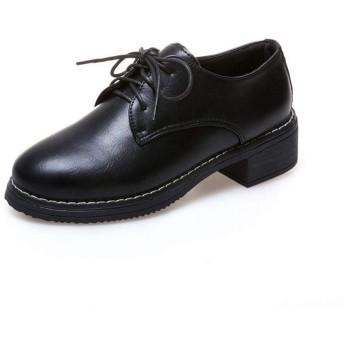 [SENNIAN] レースアップシューズ レディース ブラック 厚底 オックスフォードシューズ 25.0cm ローファー 黒 ローヒール カジュアルシューズ ローカット マニッシュシューズ 履きやすい 歩きやすい 疲れない おしゃれ かわいい レディース靴