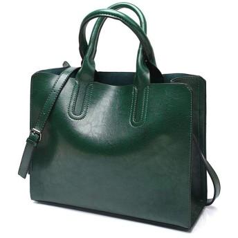 流行ショルダーバッグ,ーバッグ 女性用クロスボディスクエアラウンドコーナーデザイン通勤バッグ レザーライトパーティートートバッグ メタリックアクセサリージッパーシンプルデザインバッグ ブ (Color : Green, Size : S)