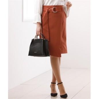 きれい見えダブルクロス素材♪ラップ風ナロースカート (ひざ丈スカート)Skirts