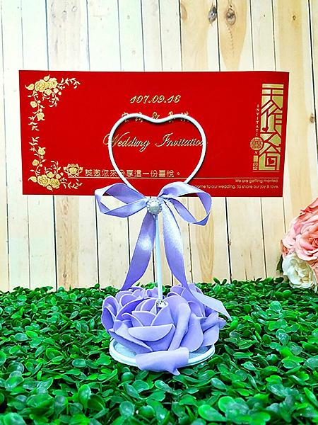 玫瑰謝卡夾 紫 婚禮小卡 喜糖配件 吊牌 婚禮小物 感謝卡 送客禮卡【皇家結婚百貨】