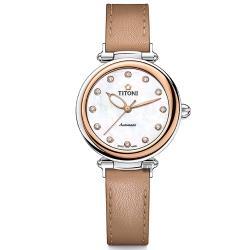 TITONI 梅花錶 炫美時尚之約械錶女錶-玫塊框x珍珠貝x咖啡錶帶/33.5mm 23978SRG-STB-622