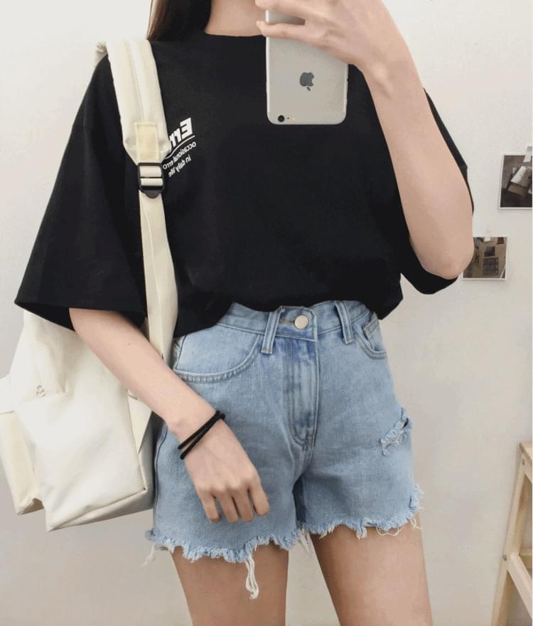 韓國空運 - ERROR Print Loose Fit T-Shirt 短袖上衣