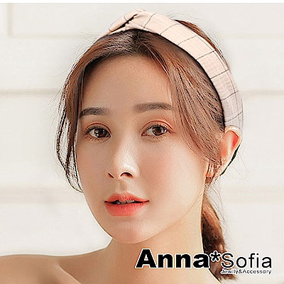 AnnaSofia 文藝線紋交叉結 彈性寬髮帶(灰杏系)