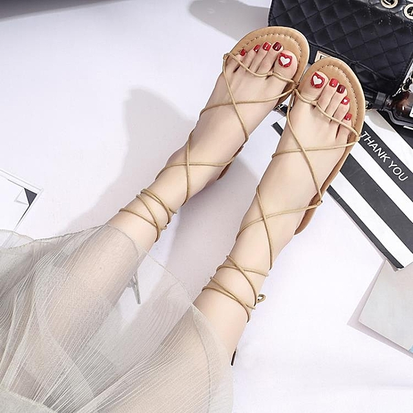 羅馬涼鞋 19夏季新款綁帶涼鞋女夏平底羅馬度假沙灘鞋