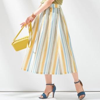 Alotta マルチストライプスカート 3L レディース 5,000円(税抜)以上購入で送料無料 フレアスカート 春 レディースファッション アパレル 通販 大きいサイズ コーデ 安い おしゃれ お洒落 20代 30代 40代 50代 女性 スカート