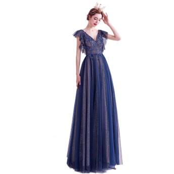 【Ominefans ®】高貴藍 のウェディングドレス Vネック ワンピース 長い パーティードレス ロング丈 セクシーで美しいドレス (青, S)