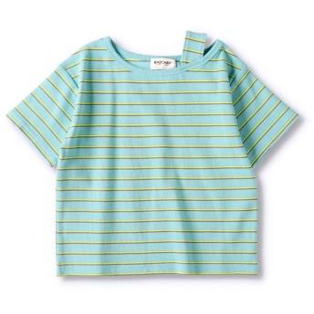 (RADCHAP/ラッドチャップ)テレコボーダーワンショルTシャツ(90~150cm)/ サックス