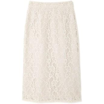 【公式/NATURAL BEAUTY BASIC】[洗える]チェックフラワーレースナロースカート/女性/スカート/オフベージュ/サイズ:XS/(外側)ポリエステル 44% コットン 30% レーヨン 26%(内側)ポリエステル 100%