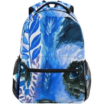 GUKISALA リュックサック、分離された抽象的な青いアライグマの葉枝、バックパック 男女兼用 アウトドア旅行バッグ オシャレ 可愛い 通勤 通学用 軽量 高校生