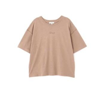 【公式/NATURAL BEAUTY BASIC】カジュアルTシャツ/女性/Tシャツ/モカ×ロゴ/サイズ:M/コットン 100%