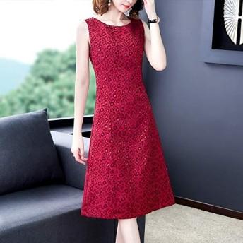 服装やアクセサリー ドレス CZサイズ:XXXL(ワインレッド)、廃棄物無益なスリムジャガードドレス (色 : Wine Red, サイズ : L)