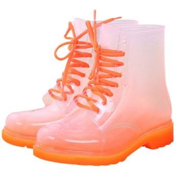 [SENNIAN] レインシューズ 防水 レディース レインブーツ サイドゴアブーツ 滑り止め ショートブーツ 短靴 オレンジ色 おしゃれ 雨靴 梅雨対策 歩きやすい 悪天候 ガーデニング アウトドア 雨晴れ兼用 25.0cm かわいい 疲れない カジュアルブーツ