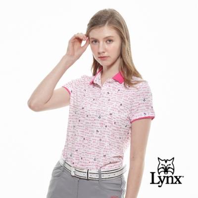 【Lynx Golf】女款吸濕排汗蛀蟲紗滿版印花短袖POLO衫-白色
