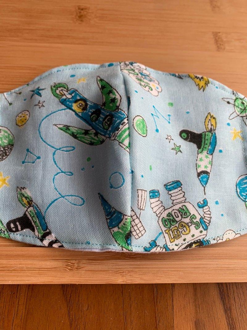 文青風環保進口雙層紗透氣兒童布口罩套 小外空