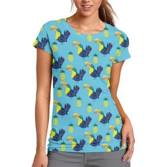 パイナップルとオオハシ Tシャツ レディース 半袖 夏 薄手 吸汗速乾 汗染み防止 快適な おもしろ おしゃれ
