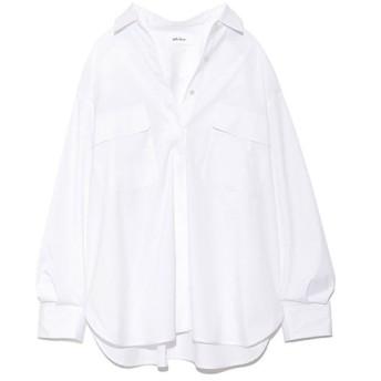 フラップポケットビックシャツ ホワイト F(M)