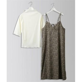 2点セット(キャミワンピース+リブTシャツ) (ワンピース)Dress