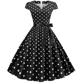 服装やアクセサリー ドレス CZ夏大げさなスイング印刷ドットドレス(カラー:ブラックサイズ:S) (色 : ブラック, サイズ : One Size)