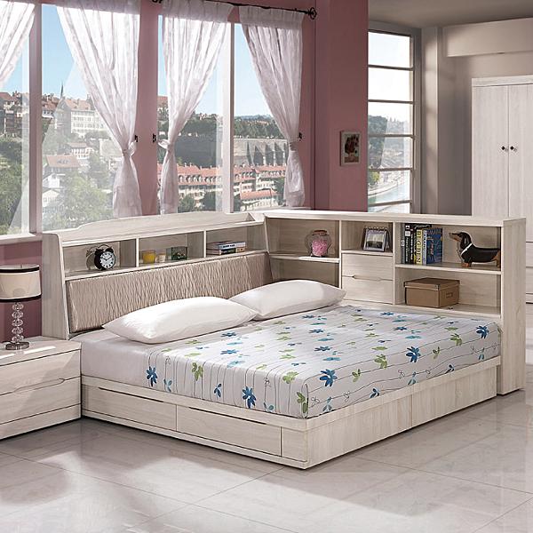 床組 5 尺床頭+抽屜式床底 瑪奇朵 409-3w 愛莎家居