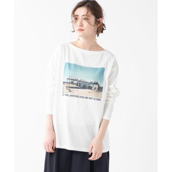 RIVE DROITE(リヴドロワ) レディース 【《存在感のあるプリントが目を引く》手洗い可】PHOTO転写Tシャツ オフホワイト