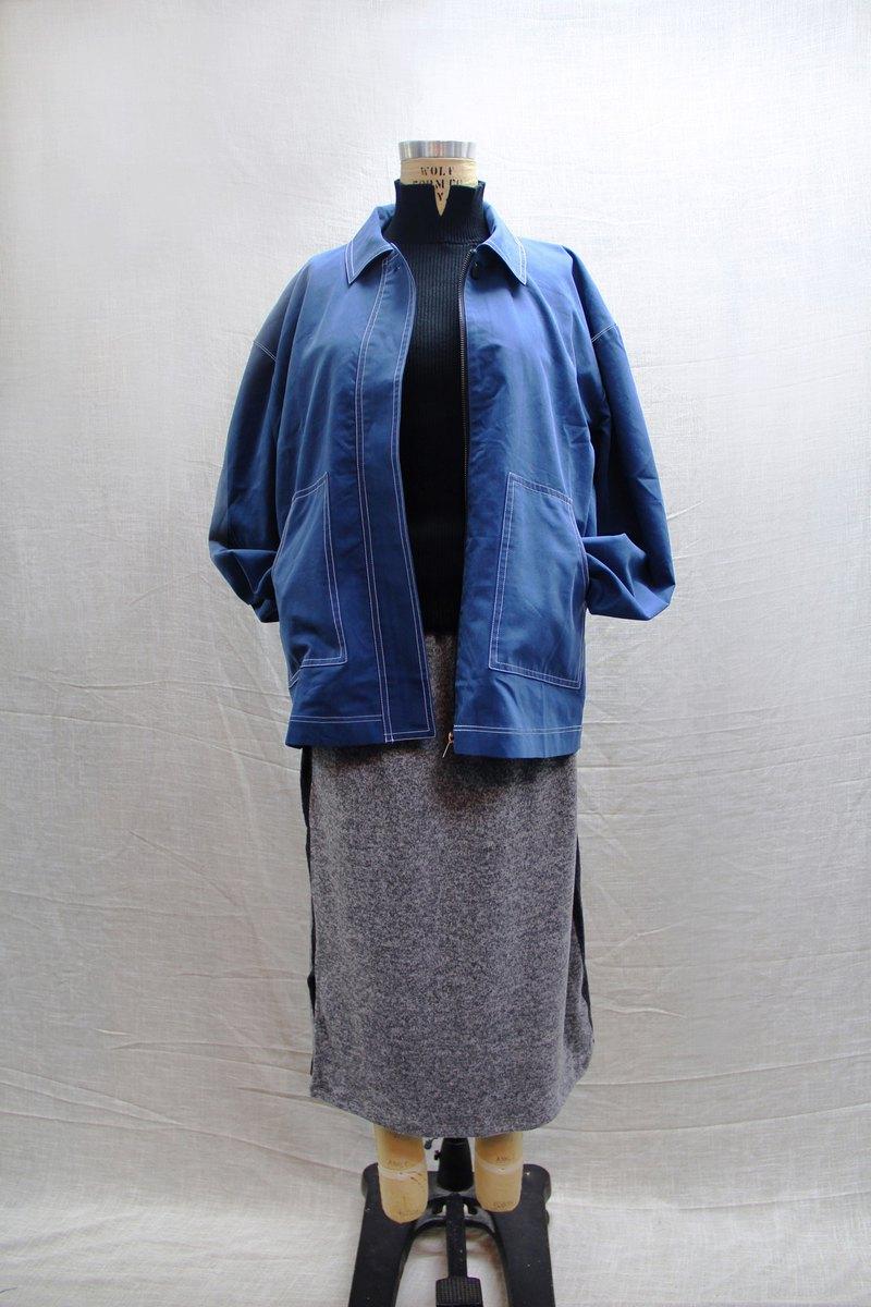 撞色線寬版襯衫外套