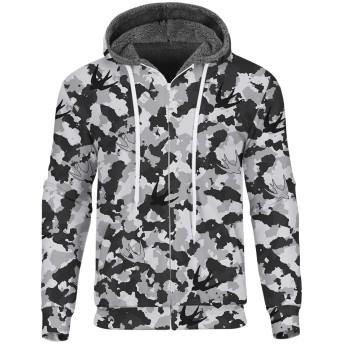 メンズ ジャケット 暖かい 裏起毛 創意デザイン 3Dプリント 面白い 迷彩柄 オシャレ スポーツウエア ストリート ファッション ヒップホップ スウェット 男女兼用 春秋冬服