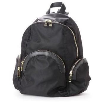 ベース BASE 軽量ナイロンリュック ポケット付きリュックサック (ブラック)