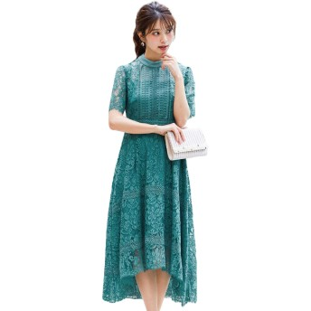 FASHIONLETTER(ファッションレター) ケミカルレース × ハシゴレース 切り替え 結婚式 ワンピース パーティードレス