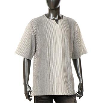 ビッグシルエット おしゃれ カットソー メンズTシャツ デザイン 半袖 ストライプ Q020227-07HY グレー L
