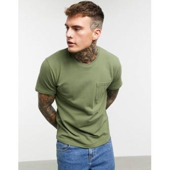 チェリオ 半袖Tシャツ メンズ Celio t-shirt with pocket in khaki [並行輸入品]