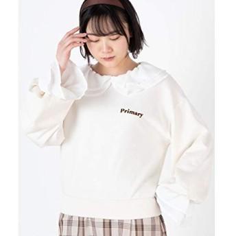 ウィゴー(レディース)(WEGO) フリルバックロゴボリュームスリーブプルオーバー【ホワイトアイボリー/F】