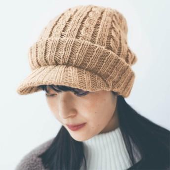 静電気対策つば付きニット帽 ベージュ