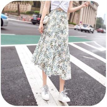 ボヘミアンフリルハイウエストシフォン女性スカート夏薄い花柄スカートビーチプリーツスカート女性パーティークラブミディスカート-green-M