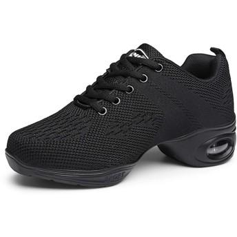 [GUREITOJP] スニーカーダンス スニーカー メッシュ レースアップ 軽量 競技 練習 ヒップホップ ジャズダンス 社交ダンス チアリーディング 通勤 ランニング スポーツシューズ クッション性 婦人靴 黒 白