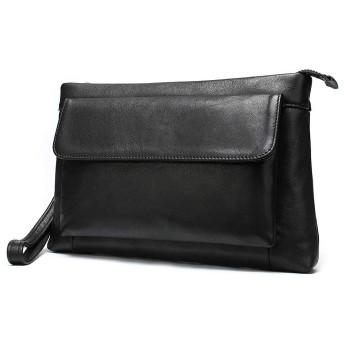 メンズ財布 メンズレザークラッチバッグ夏ビジネスシンプルな断面カジュアルな封筒財布大容量 (Color : Black, Size : S)