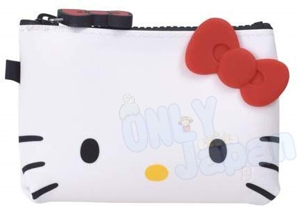 凱蒂貓kitty 發票包 鑰匙包 小物收納 零錢包 4582406780367 矽膠拉鍊小方錢包-KT大臉紅結 真愛日本