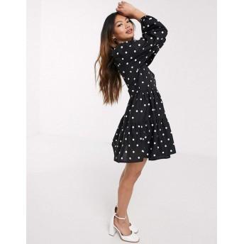 エイソス ミディドレス レディース ASOS DESIGN cotton poplin trapeze mini dress in spot print [並行輸入品]