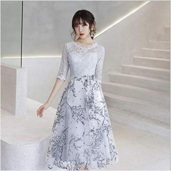 ドレス 結婚式 ワンピース チュール ミディ丈 レース 五分袖(Gray-Mサイズ)