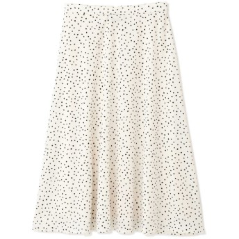 【公式/NATURAL BEAUTY BASIC】[WEB限定]ランダムドットプリントスカート/女性/スカート/オフ×クロ/サイズ:L/(表生地)ポリエステル 100%(裏生地)ポリエステル 100%
