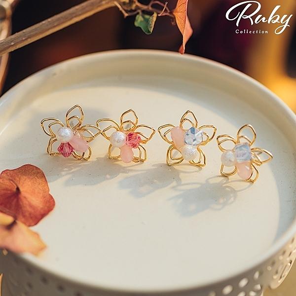 耳環 韓國直送‧雙層鏤空花朵耳針/夾式耳環-Ruby s 露比午茶