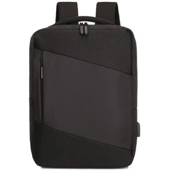 リュック メンズ PCリュック ビジネスバックパック 防水 リュックサック 大容量 ラップトップバック 個性 USB充電ポート&イヤホン穴搭載 通学/通勤/旅行 ブラック