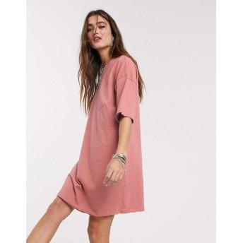 エイソス ミディドレス レディース ASOS DESIGN ripped pocket oversized t-shirt dress in rose [並行輸入品]