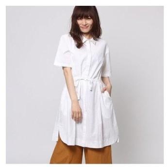 カンカン KANKAN ソリッドポプリンシャツドレス (ホワイト)